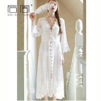 Mulheres Sleepwear Sexy Lace Branco Longo Robe Vestido de Princesa Roupa de Maternidade Camisola Elegante Europeu-estilo Vestidos de roupa de Dormir