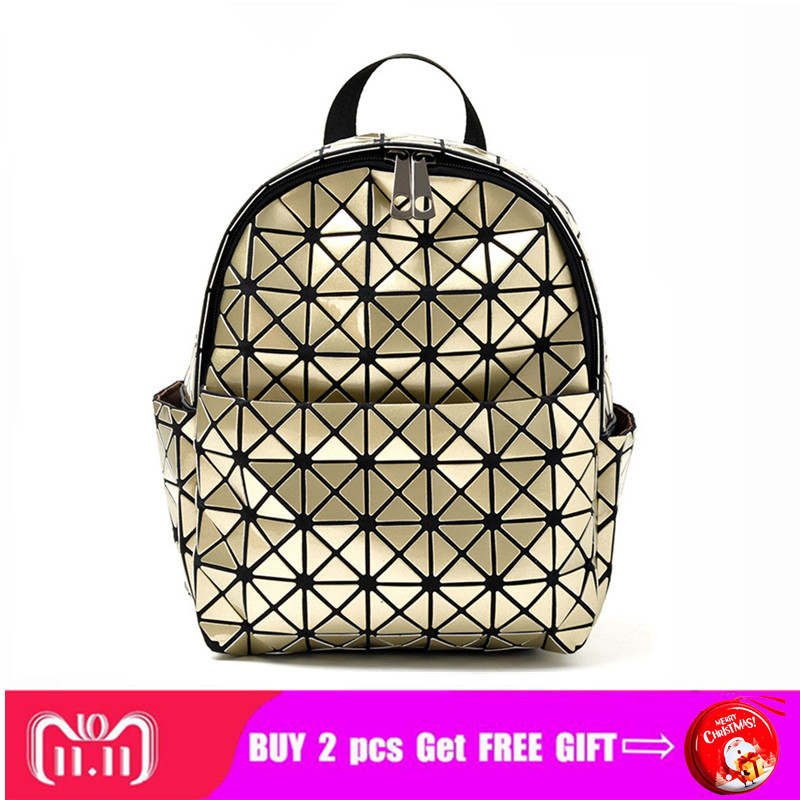 High Quality Women Pvc Shining Laser Geometric Backpack Softback Lady Cool Mini/small Size Bags Gold/silver/blue/black