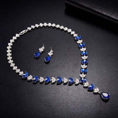 BE8 mode argent couleur Long pendentif bijoux ensemble femmes nuptiale coloré cubique zircone ensembles pour les femmes livraison rapide S-025