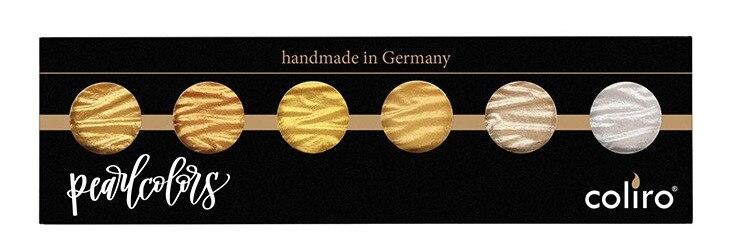 Allemagne Coliro artiste Mica solide aquarelle peinture ensemble métallique or argent perle couleurs fait à la main 6/12 couleurs Art fournitures