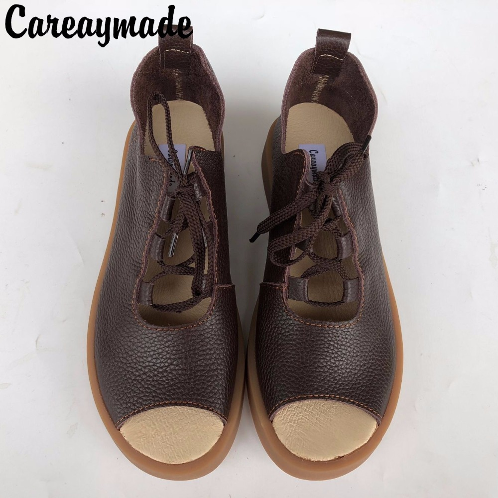 Careaymade Hot summer Women open toe sandals Head layer cowhide lace up casual flat sandals Mori