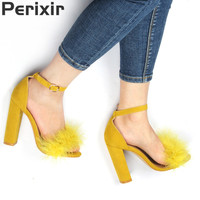 Perixir Summer Sexy High Heels Women Sandals with Fur Party Shoes Ladies Sandals Red Black Sandalia Feminina Chaussures Femme
