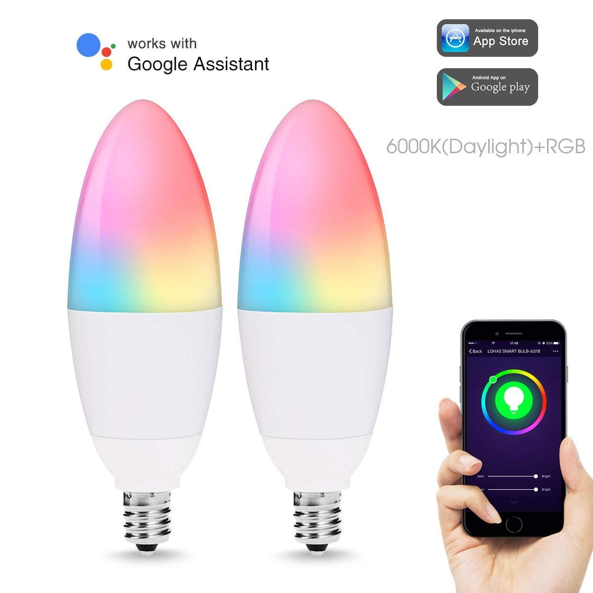 Smart Light Bulb LED E12,Wi-Fi Control,RGB Candle 40W Equivalent Color Changing Lighting,Compatible with Alexa Google Assistant кулер reeven e12 rgb led rc 1208rgb