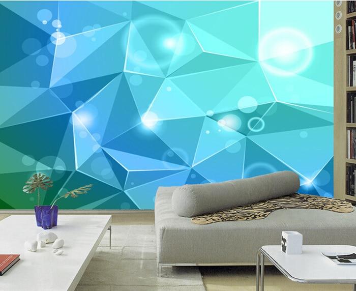 Poster Murali Per Camere Da Letto : Personalizzato carta da parati d d fantasia verde geometria