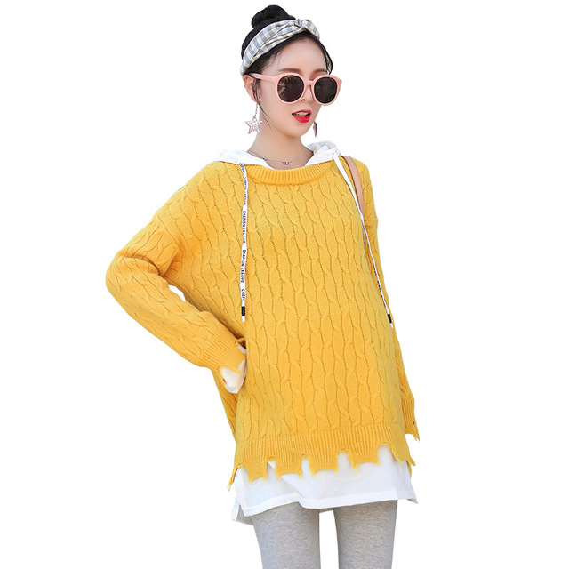Maternity Sweater Hoodies Fashion Clothes Maternity Sweaters Loose Clothes for Pregnant Women Sweater H292