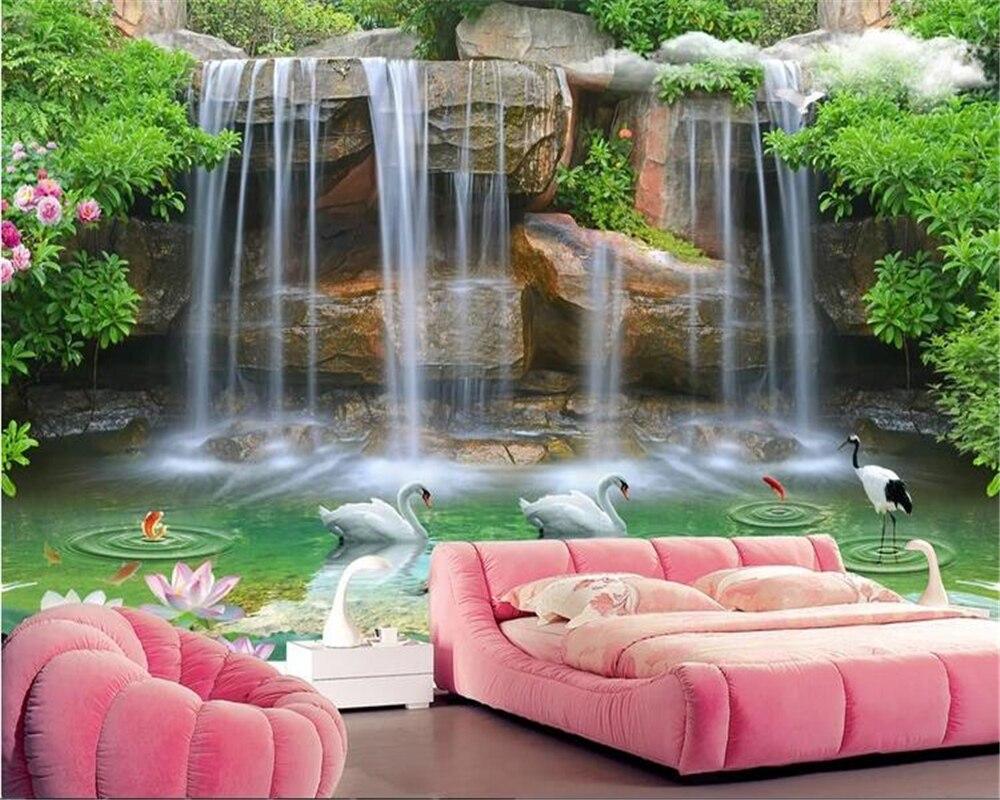 beibehang Home interior papel de parede 3d Vinyl wall landscape waterfall romantic 3d wall mural tv background wallpaper behang