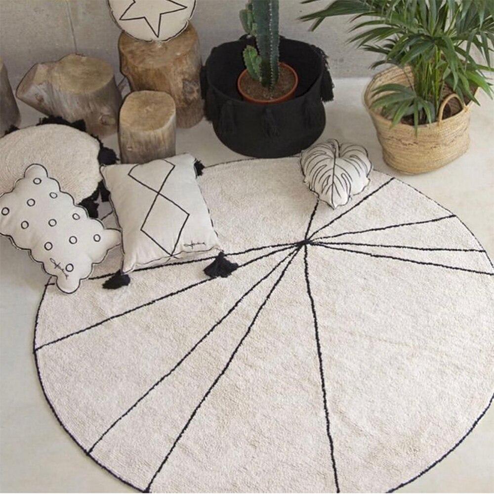 Tapis de jeu en coton pour bébé tapis de jeu rond tapis enfants impression pastèque jeux de bébé tapis d'activité tapis jouets pour 120 cm
