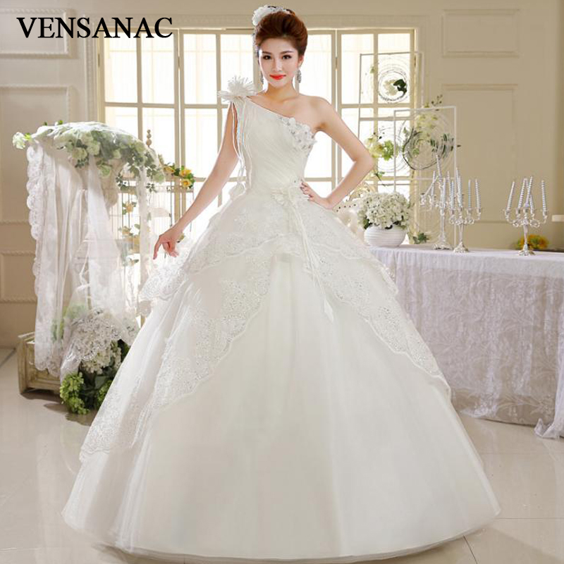 Rivini Lace Tiered Wedding Gown: VENSANAC 2018 Crystal Flowers Appliques One Shoulder Ball