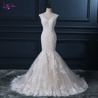 Waulizane New Style V Neck Mermaid Wedding Dresses Beading Appliques Lace Embroidery Court Train Cap Sleeves