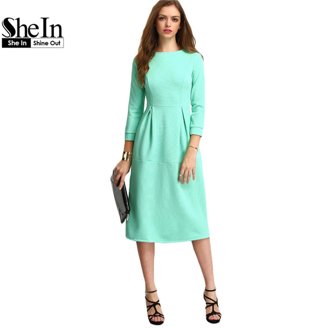 SheIn New Style Autumn Dresses For Women Ladies Office Green Three Quarter Length Sleeve A Line Elegant Midi Dress