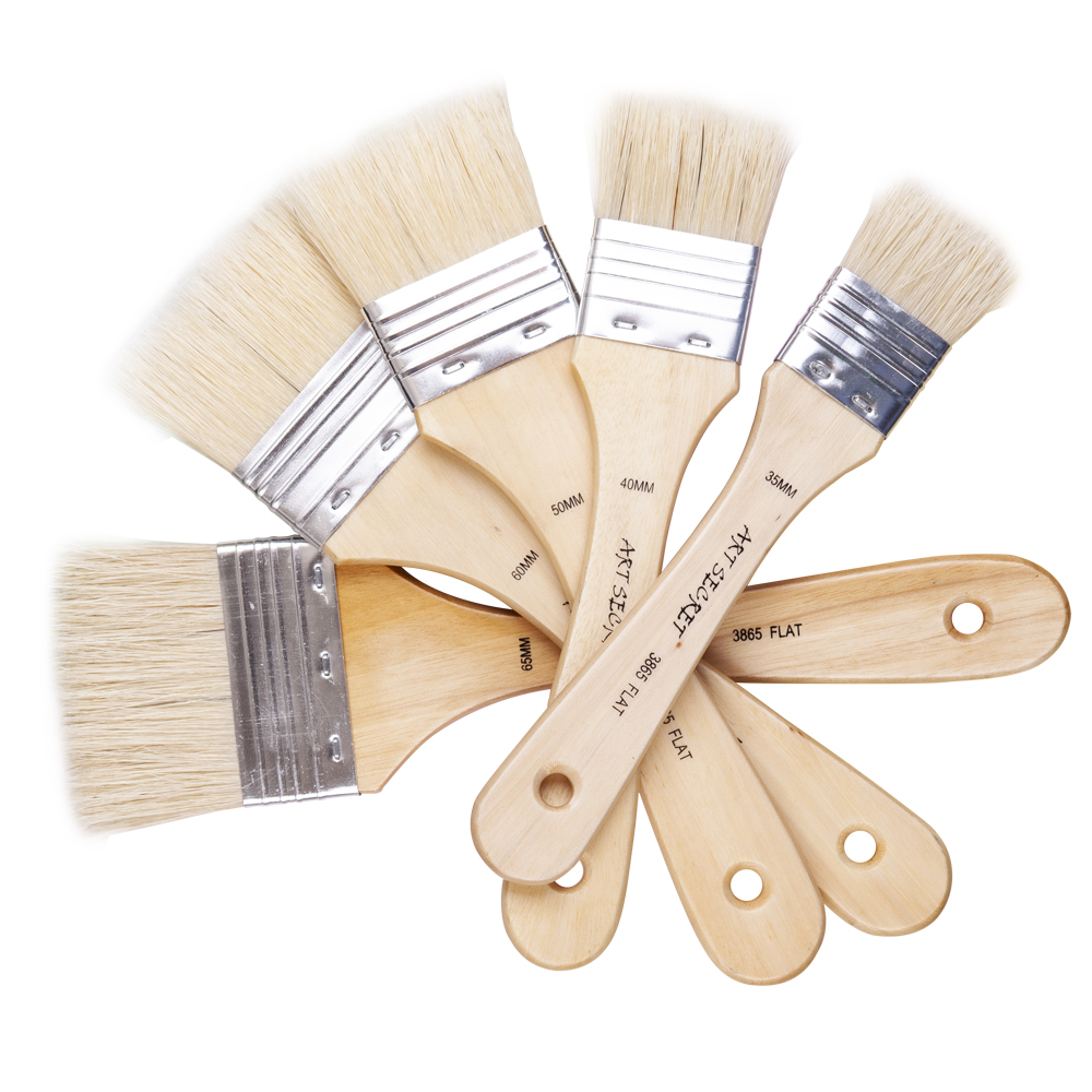 One Piece 3865Flat Hog Bristle Hair Wooden Handle Metal Ferrule Watercolor Art Paint Brush For Oil And Acrylic Drawing