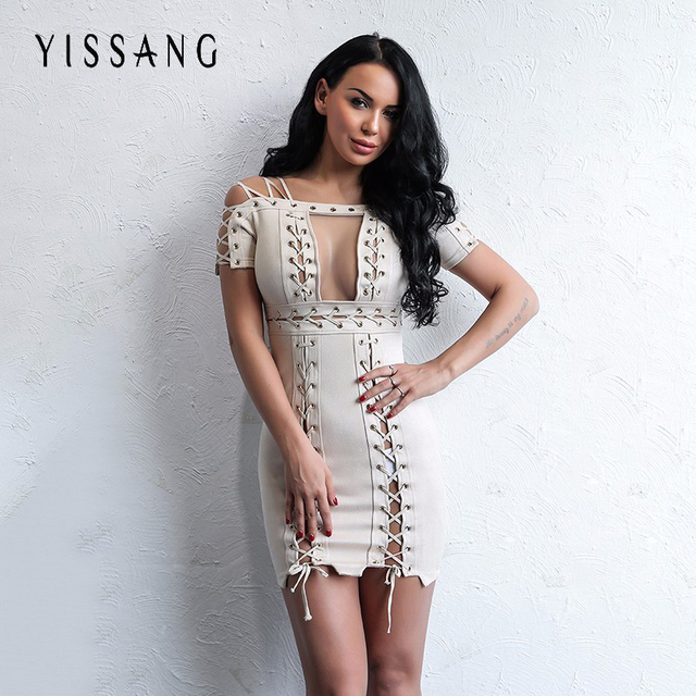 Yissang Sexy Soft Suede Bodycon Dress Women Elegant Tie Up Christmas Dresses  Party Strapless Autumn Winter e38d86013f73