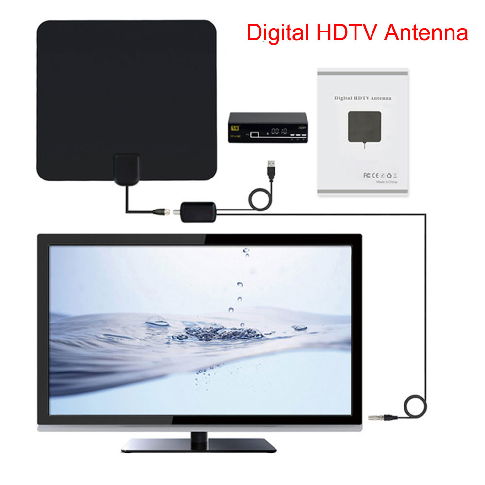hot selling 50 Mile Range Ultra-thin Digital Indoor Antena TV HDTV Antenna&High Signal Capture Cable Signal Amplifie Spain offer