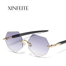567febc71303ec Xinfeite Soleil lunettes Mode TR90 polygonale sans cadre UV400 lunettes de  soleil d été objectif clair plaine lunettes pour homm.