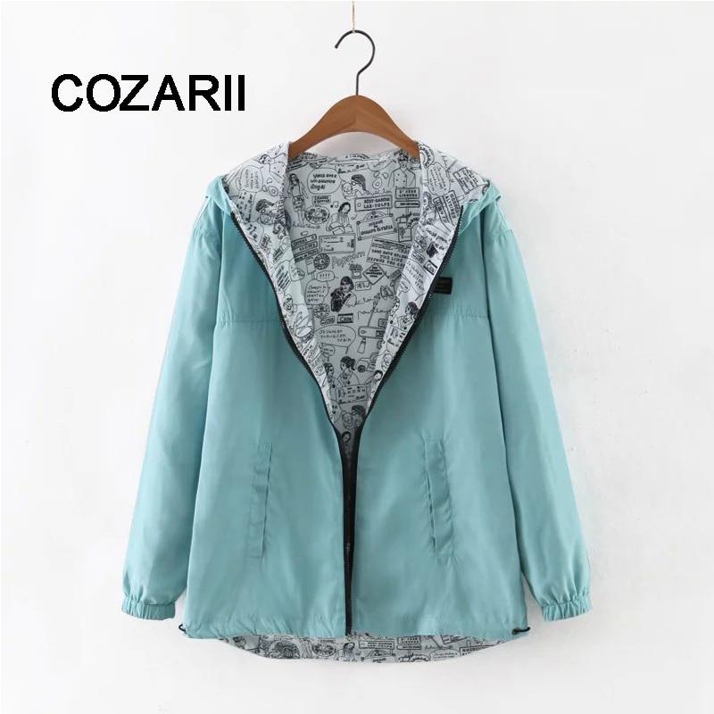 COZARII 2018 Autumn Women Bomber   Basic     Jacket   Pocket Zipper Hooded Two Side Wear Cartoon Print Outwear Harajuku Loose Coat