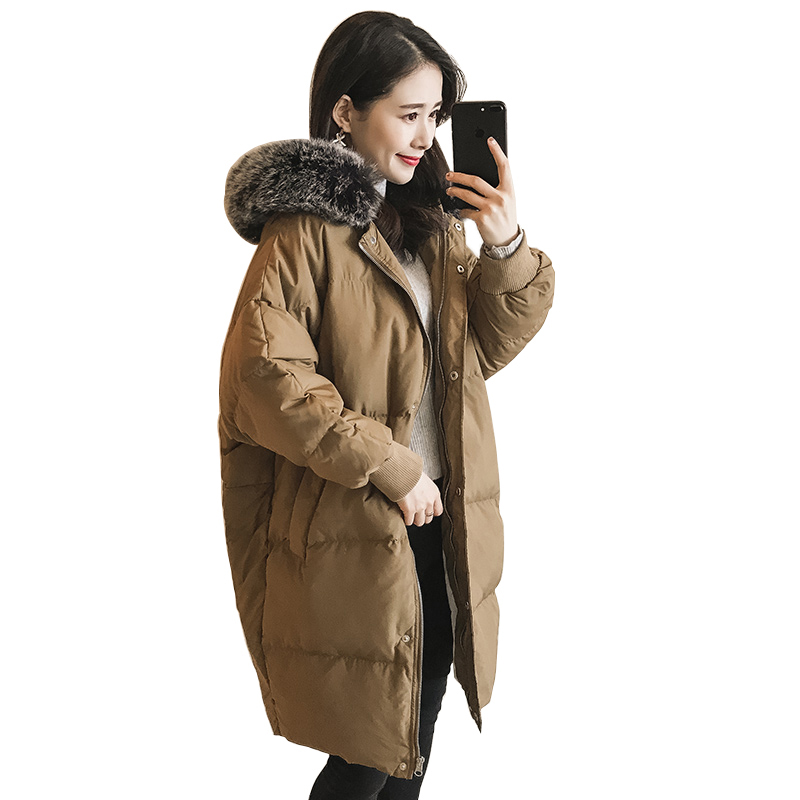2017 Winter Fashion Big Faux Fur Collar Women Cotton Coats Thick Loose Casual Female Coat Jackets Hooded Long Parkas RE0048 women winter long hooded cotton coat faux fur collar jackets plus size outerwear wadded thick casual parkas cotton coats pw1015