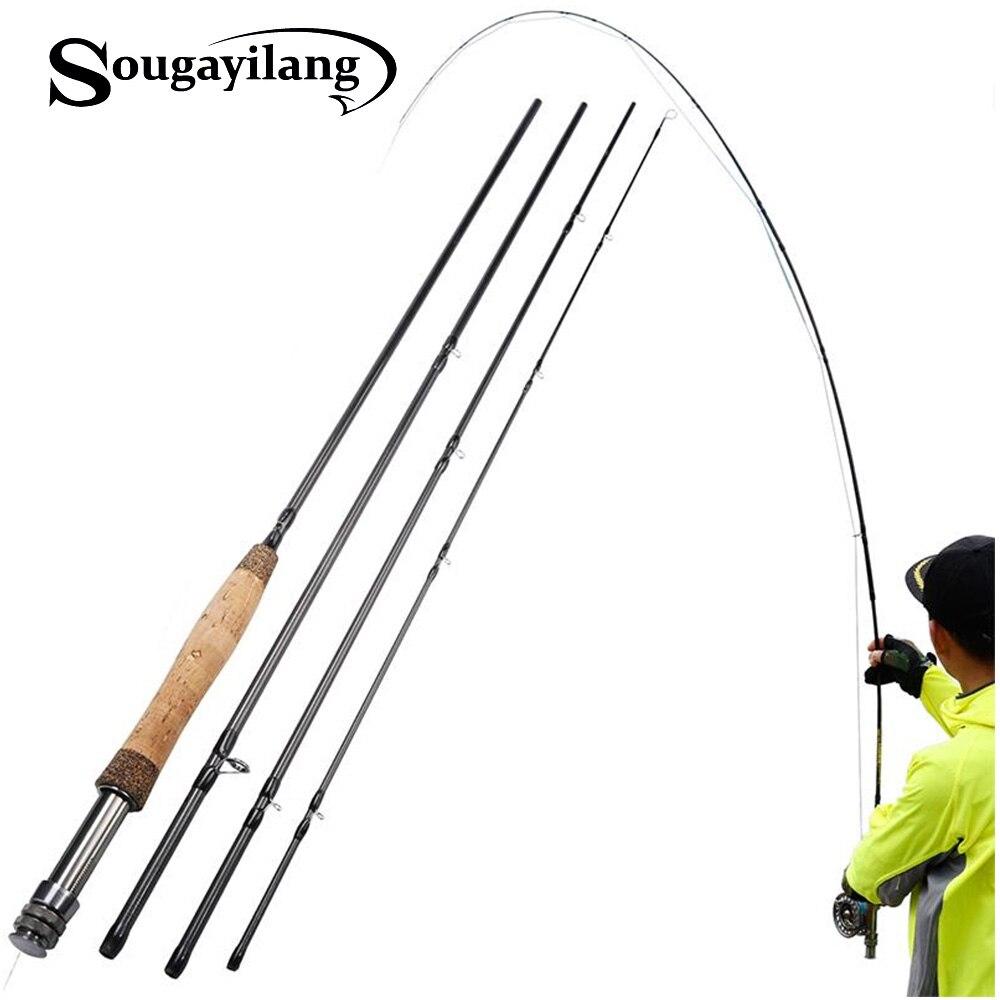 Sougayilang Fly Fishing Rod 4-Piece 9-Feet Lightweight Ultra Portable Cork Handle Fly Fishing Pole