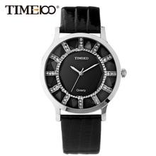 Time100 Marca mujeres de la Moda Retro Relojes Correa de Cuero Rhinestone Reloj de Las Señoras de Cuarzo Reloj de Vestir relogio feminino