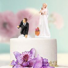 Funny Synthetic Resin Bride Groom Couple Cake Topper Wedding Party Decoration Supplies Figurine Craft Gift