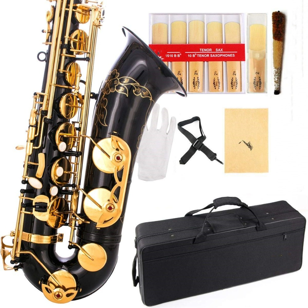 Black/Gold B Flat Tenor Saxophone with Case,10pc Reeds,Mouth Piece,Screw Driver,Nipper. A pair of gloves, Soft Cleaning Cloth.