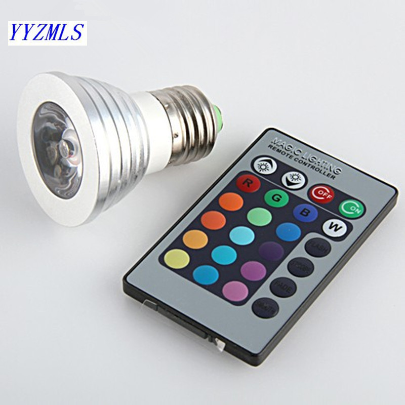 3W E27 Gu10 RGB LED Bulb Light 16 Color RGB Changing Lamp Spotlight With Remote Controller For Home Party Improve Atmosphere