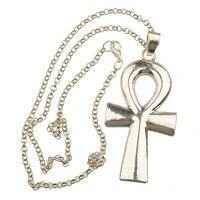 Lange Halsketten Frau Mann Schmuck Große Vintage Silber Anhänger Kreuz Liebe Messing Ketten 70 cm Mode Sommer Winter Neu Kommen 1 stücke