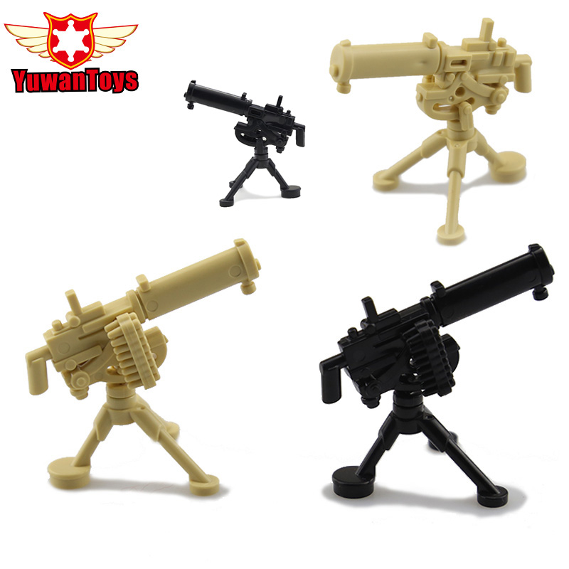 5pcs/Lot 4 Color MOC Guns Gatling M2 Mortar M2HB M1919 Building Block Heavy Machine Gun Tripod WW2 Army Weapons Kids Toys