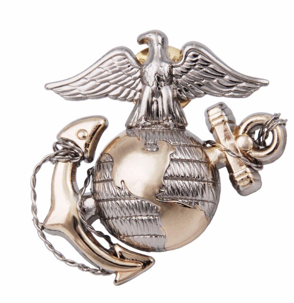 WWII USMC OFFICER EGA BARRACKS METAL HAT BADGE