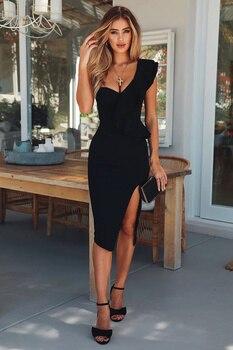 High Quality Celebrity Black One Shoulder Open Fork Sexy Rayon Bandage Dress Evening Party Dress open shoulder mini vertical striped dress