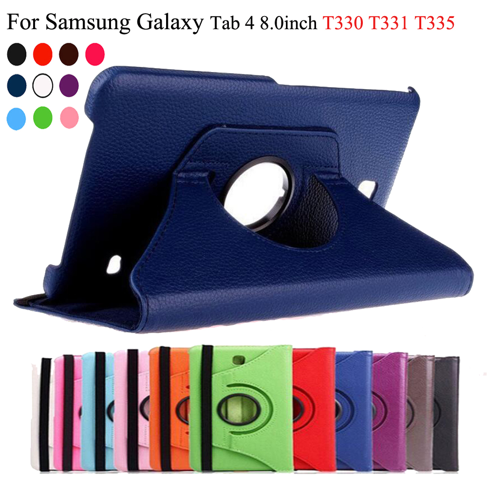 360 Rotating PU Leather case For Samsung Galaxy Tab 4 8.0 SM-T330 T331 T335 Tablet stand function case cover sleeve+Film+Stylus360 Rotating PU Leather case For Samsung Galaxy Tab 4 8.0 SM-T330 T331 T335 Tablet stand function case cover sleeve+Film+Stylus