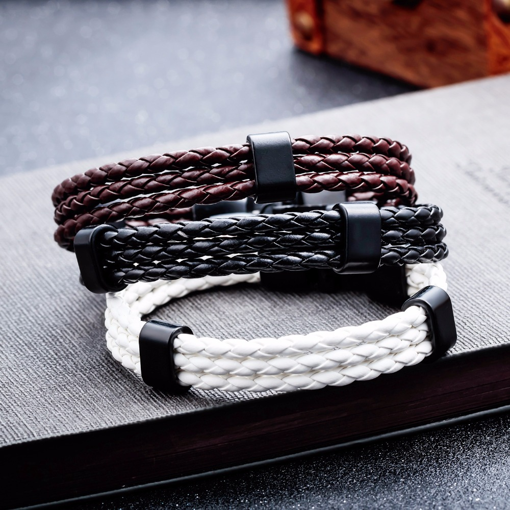 Length 19cm Men Vintage Bracelet Black Woven Leather Man Bracelets Gift Male White Brown Color Bangles Bracelets For Boy