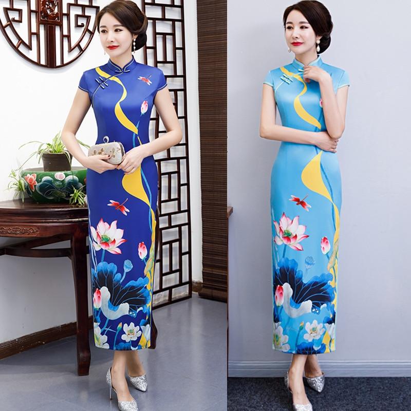2019 Lotus short sleeve long dress Qipao Silk Chinese Dress chinese style elegant cheongsam dress