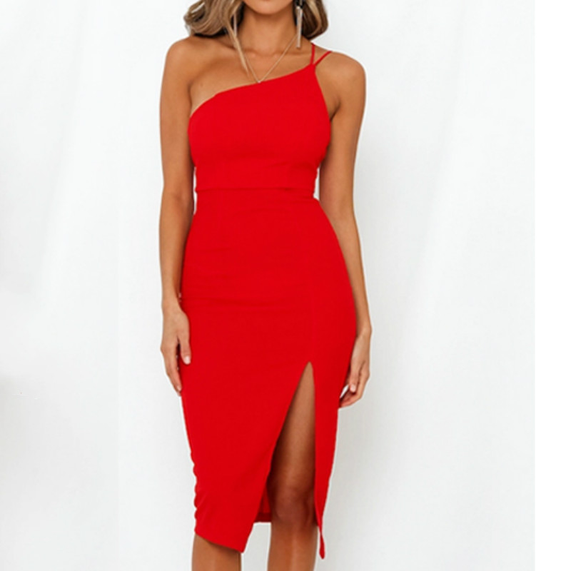 Evening Party Dress vestidos Women Backless One Shoulder Split Bodycon Strap Christmas Red Dresses 2019 New Evening Party  Dress vestidos Women Backless One Shoulder Split Bodycon  Strap Christmas Red  Dresses 2019 New Arrivarls