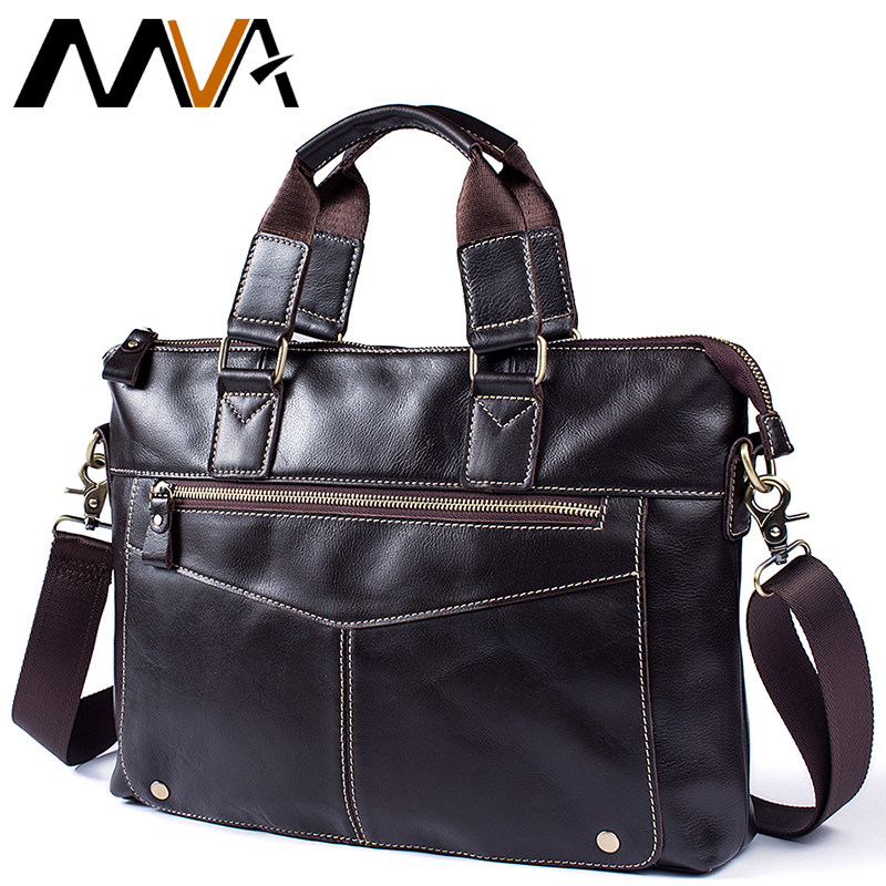 2019 Business Genuine Leather Men Briefcase Cowhide Men's Messenger Bags For 14