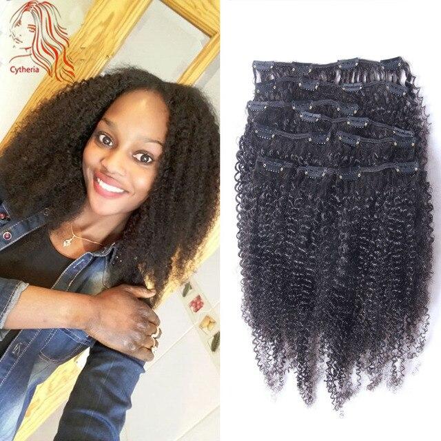 Afro Rizado Rizado Clip En Extensiones de Cabello Humano Para Las Mujeres Negras 8A Virgen Mongol Del Pelo Humano Clip En Extensiones de Cabello Cabeza Llena