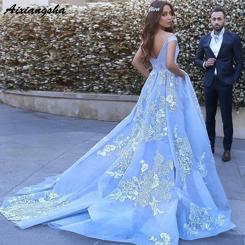 Gelinlik Ball Gown Sleeveless Off-the-Shoulder Appliques Tulle Sweep Train Blue Wedding Dress Bridal Dresses 2018