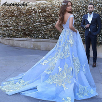 Gelinlik Ball Gown Sleeveless Off the Shoulder Appliques Tulle Sweep Train Blue Wedding Dress Bridal Dresses 2018