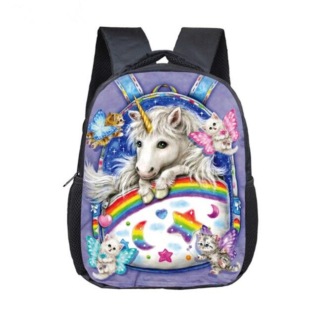 9f2ba7a2f 12 pulgadas unicornio de dibujos animados escuela mochila escolar Bolsas  Niñas Niños Rainbow pony Mochilas y