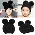 Free shipping Autumn and Winter Korea Fashionable Black Mouse Ears Knitted Cap Womens Cute Wool Hat Knitted Hats Cat Ears Caps