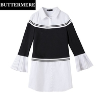 BUTTERMERE Womens Clothing Plus Size 5XL Pleated Flare Sleeve Blouse Designer Long Shirt Knitted Top Black