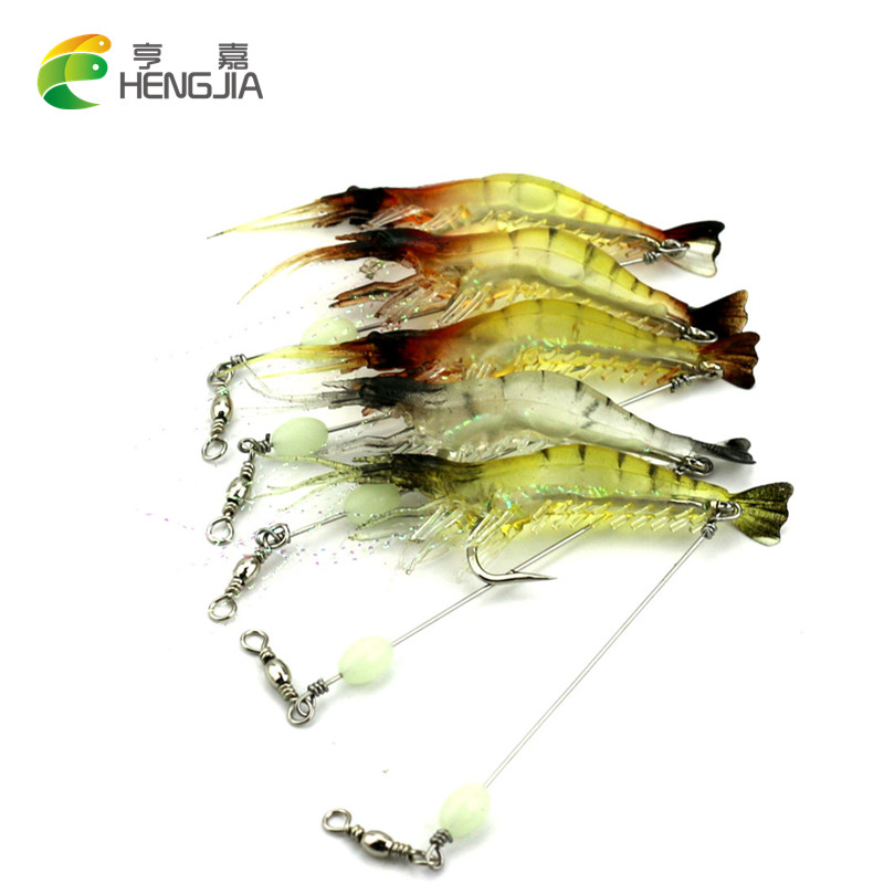 цены Hengjia 3pcs Luminous Simulation Prawn soft Shrimp Fishing lure Floating Shaped Worn Fake lure Hook isca artificial soft bait