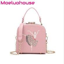 Moeluohouse Embroidery Dance Girl Women Shoulder Corssbody Messenger Box Bag Handbag Tote Flap Hasp Chain Korean Style Cute Gift