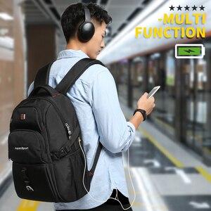 Image 4 - AspenSport กระเป๋าเป้สะพายหลังผู้ชาย USB ชาร์จ & Anti Theft แล็ปท็อป Rucksacks ชายกันน้ำกระเป๋า 17 นิ้ว