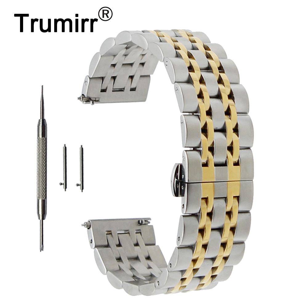 20mm 22mm Stainless Steel Watch Band for Rolex Butterfly Buckle Strap Quick Release Wrist Belt Bracelet + Spring Bar + Tool