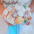 2017 Conch Beach Artificial Wedding Bouquets Blue Ribbon Real Touch Bridal Bouquet Shell Luxury Pearl Bridesmaid Hand Flowers