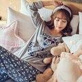 Nuevo Anuncio 2017 del Ocio del Algodón Loungewear Pijamas mujeres Ropa SleeveTops Largo Set señoras Pijamas Conjuntos Traje de Noche ropa de Dormir