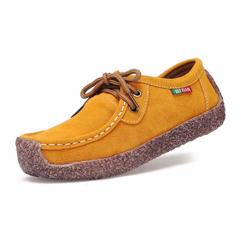 Nx Femelle bleu Mode En chocolat Femmes orange Chaud Chaussures Dentelle Royal Noir jaune 017 Sauvage Cuir Ipc up rouge Respirant Concise Casual Confortable Appartements Femme Zdwqaga