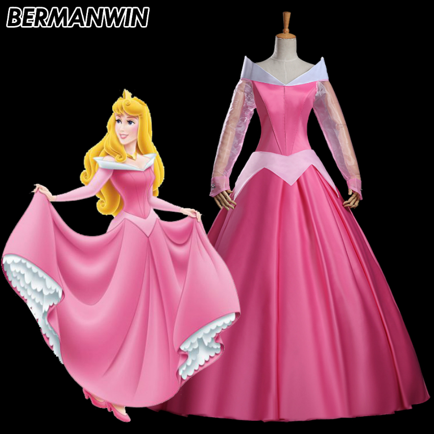 BERMANWIN High Quality Sleeping Beauty Aurora Princess Costume Aurora Dress with Cape Halloween Cosplay Costume for adult women