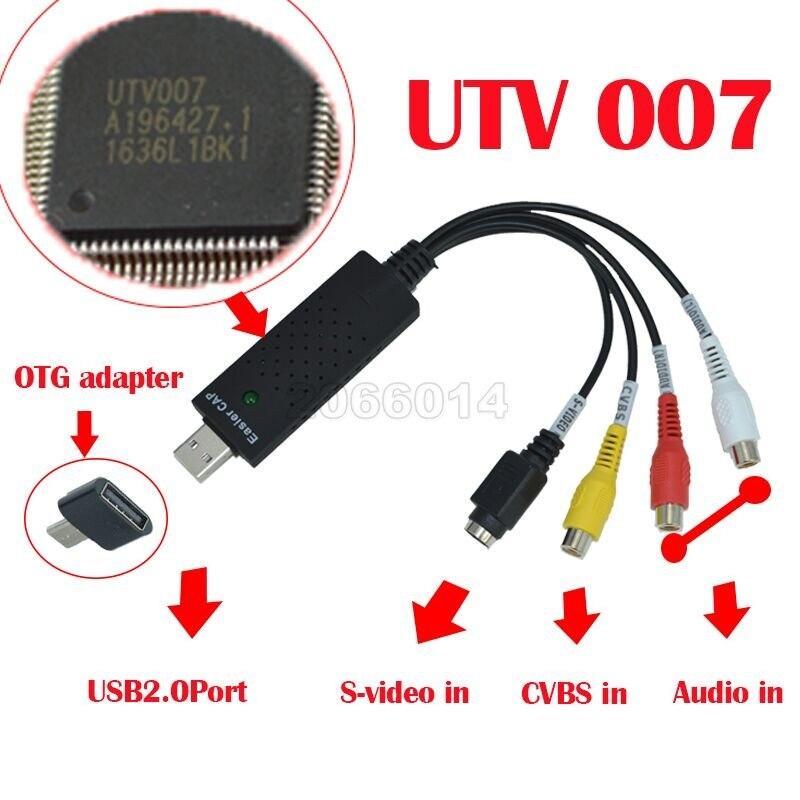 USB 2.0 Audio video Capture chipset EasierCAP UTV007 TV DVD VHS AV Analog signal video adapter card XP / WIN7 / WIN8