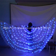 Newest Blue Led Luminous Evening Party Dress Cloak Women Clothes Light Up Stage Performance Costumes For Party Bar Halloween